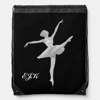 Ballerina in Silver and Black, Monogram Cinch Bags