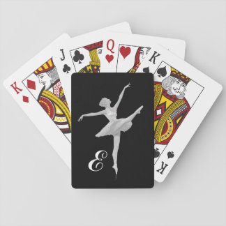 Ballerina in Silver and Black with Monogram Playing Cards