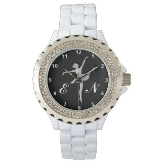 Ballerina in Silver on Black with Monogram Watches