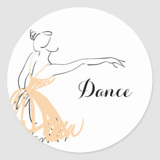 Ballerina in Soft Peach Classic Round Sticker
