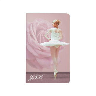 Ballerina in White , Pink Rose, Monogram Journals