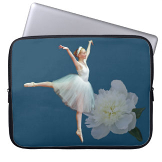Ballerina in White with Peony Flower Computer Sleeve