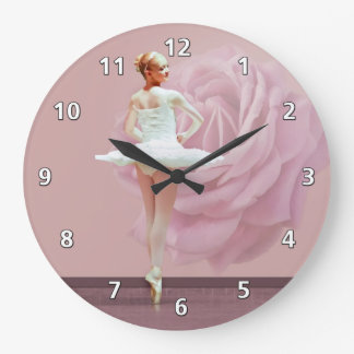 Ballerina in White with Pink Rose Large Clock