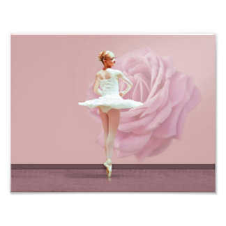 Ballerina in White with Pink Rose Art Photo