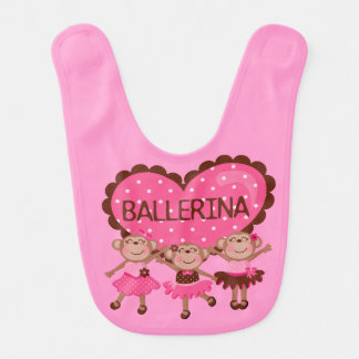 Ballerina Monkeys Bib