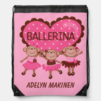 Ballerina Monkeys Drawstring Bag