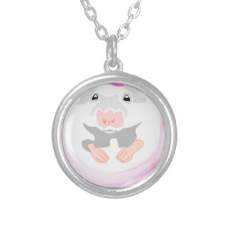 ballerina mouse silver plated necklace