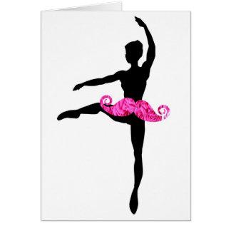 Ballerina Moustache Greeting Card