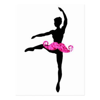 Ballerina Moustache Postcard