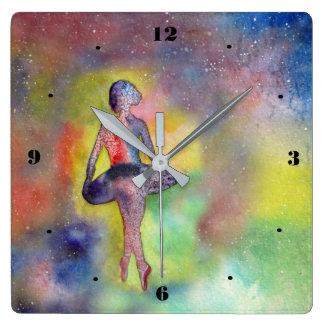 Ballerina - naive Art painting Square Wall Clock