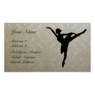 Ballerina on damask with 2012 Calendar Business Business Card Template
