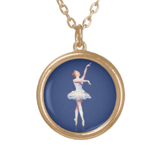 Ballerina On Pointe  Customizable Gold Plated Necklace