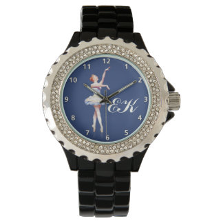 Ballerina On Pointe,  Customizable Monogram Wrist Watch