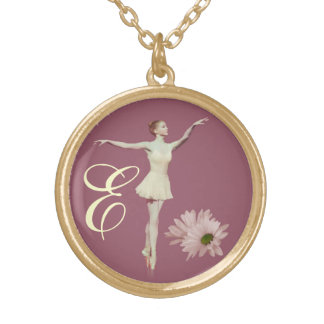 Ballerina On Pointe, Daisies with Monogram Gold Plated Necklace