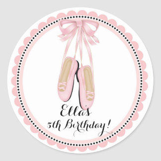 Ballerina Pink Birthday Party Favor Stickers