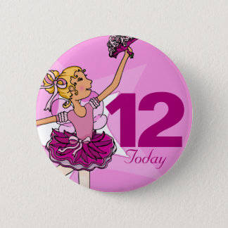 Ballerina pink blonde girl 12th birthday button