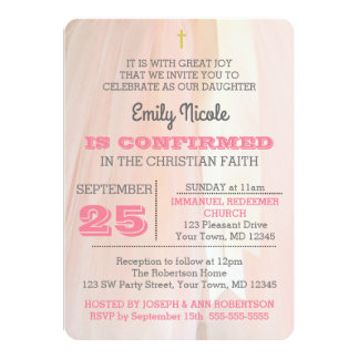 Ballerina Pink Confirmation Invitation