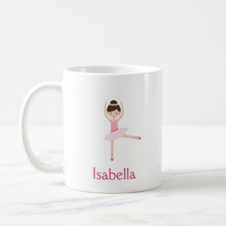 Ballerina Pink Flowers Bun Brown Hair Mug