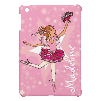 "Ballerina pink star girl ""name"" ipad mini case"