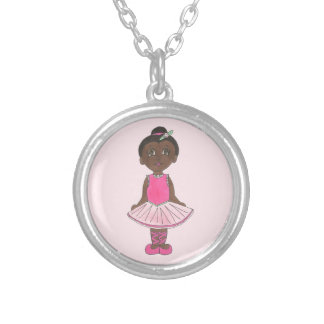 Ballerina Pink Tutu Dance Recital Ballet Dancer Silver Plated Necklace