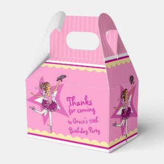 Ballerina pink yellow girls birthday favor box