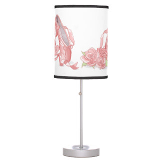 Ballerina pointe shoes and roses table lamp