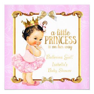 Ballerina Princess Baby Shower Pink Gold Brunette Card