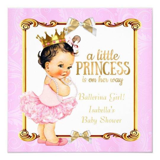 ballerina princess baby shower pink gold brunette card | zazzle, Baby shower invitations