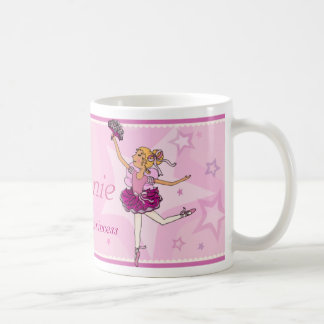 Ballerina princess pink and blonde hair girl mug