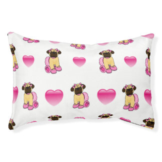Ballerina Pug And Hearts Dog Bed