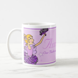 Ballerina purple and golden girls name mug