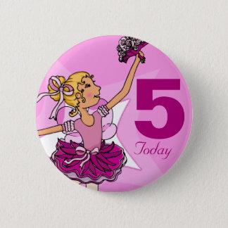 Ballerina purple pink blonde girl birthday button