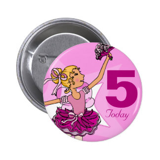 Ballerina purple pink blonde girl birthday button