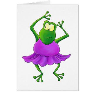 Ballerina Purple Tutu Dancing Frog Card