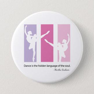 Ballerina Silhouette in Pink 3 Inch Round Button