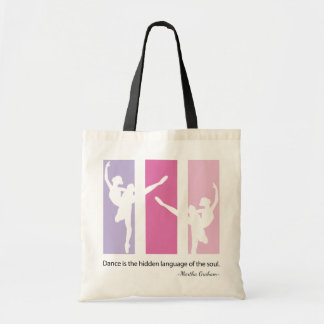 Ballerina Silhouette in Pink Tote Bag
