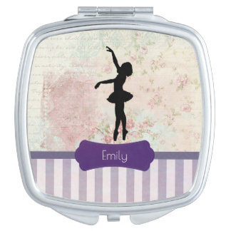 Ballerina Silhouette on Elegant Vintage Pattern Compact Mirror