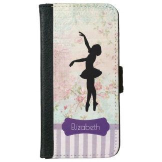 Ballerina Silhouette on Elegant Vintage Pattern iPhone 6 Wallet Case