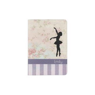 Ballerina Silhouette on Elegant Vintage Pattern Passport Holder