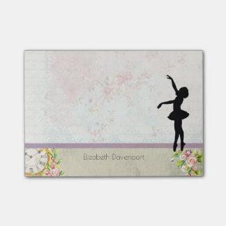 Ballerina Silhouette on Elegant Vintage Pattern Post-it Notes