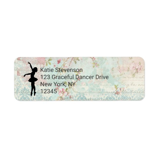 Ballerina Silhouette on Elegant Vintage Pattern Return Address Label