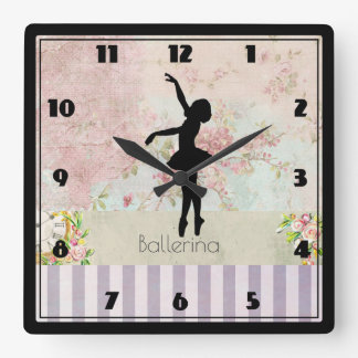 Ballerina Silhouette on Elegant Vintage Pattern Square Wall Clock