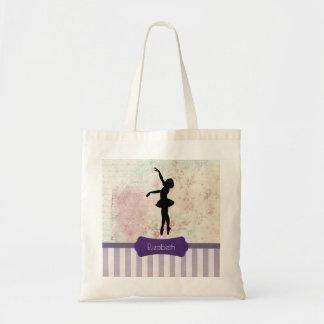 Ballerina Silhouette on Elegant Vintage Pattern Tote Bag