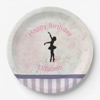 Ballerina Silhouette on Vintage Pattern Birthday 9 Inch Paper Plate