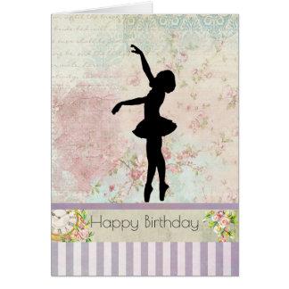 Ballerina Silhouette on Vintage Pattern Birthday Card