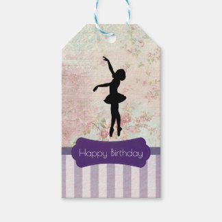Ballerina Silhouette on Vintage Pattern Birthday Pack Of Gift Tags