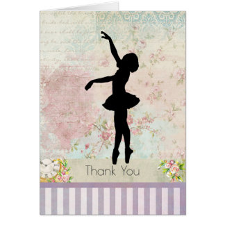 Ballerina Silhouette on Vintage Pattern Thank You Card