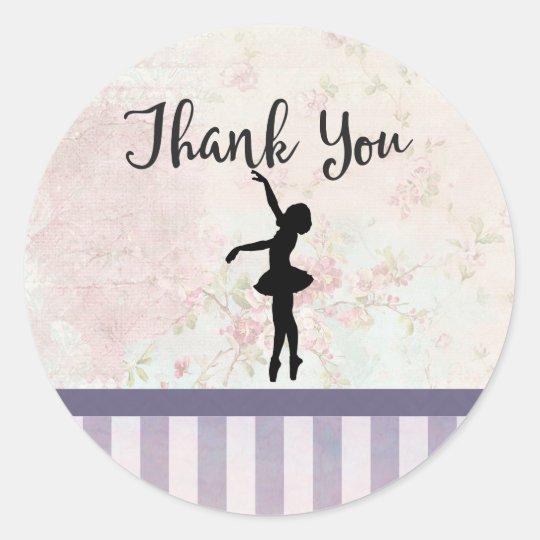 Ballerina Silhouette on Vintage Pattern Thank You Classic Round Sticker