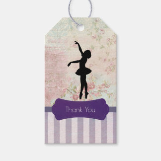 Ballerina Silhouette on Vintage Pattern Thank You Pack Of Gift Tags