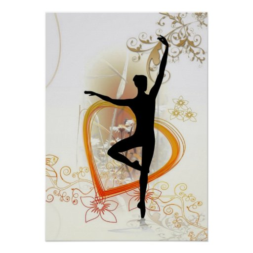 Ballerina silhouette with floral abstract design poster